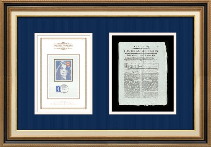 Revolução Francesa - Journal de Paris - Sábado, dia 4 de Julho de 1789 | Retrato de Marianne - Figura Alegórica da República Francesa