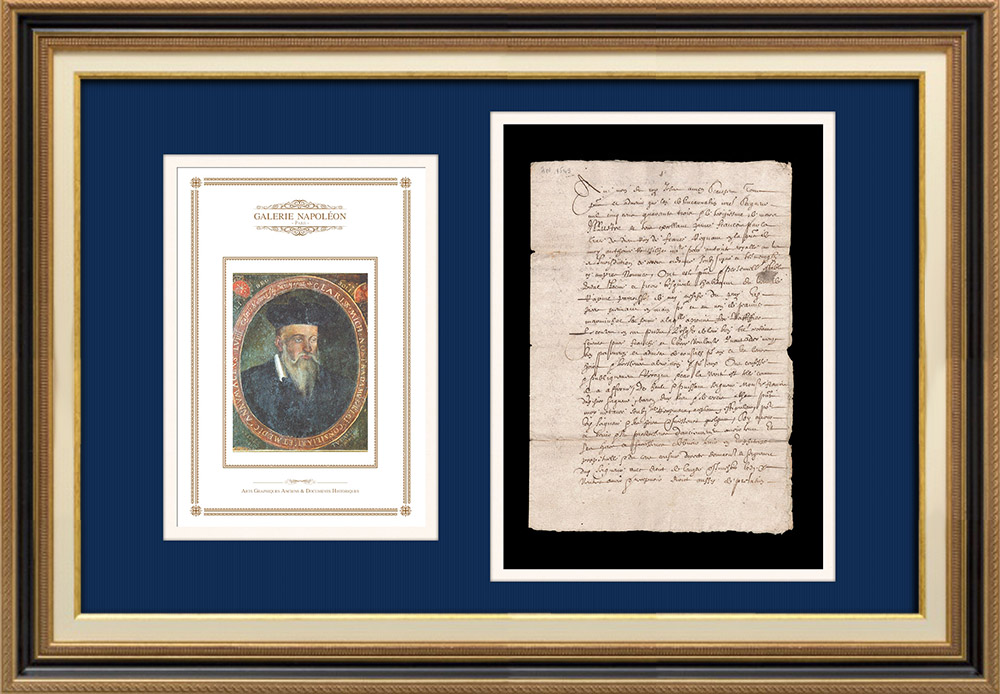 Notarial Act - Francis I Period (1543) | Portrait of Nostradamus - Michel de Nostredame (1503-1566) | Handwritten document (3 pages) on watermarked laid paper written in 1543 (Francis I)