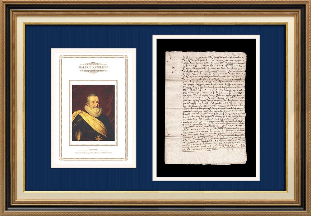 Manuscrit - Epoque Henri IV (1606) | Portrait de Henri IV (Frans Pourbus le Jeune) | Document manuscrit de 2 pages sur papier vergé filigrané rédigé en 1606 (Henri IV)