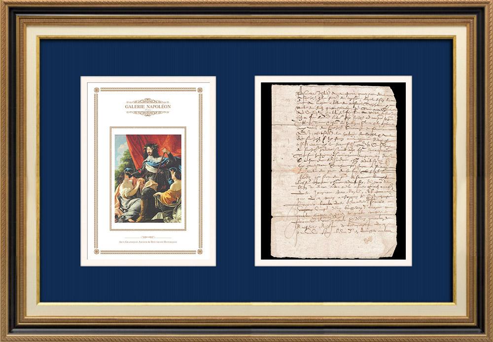 Manuscrito - Período Luís XIII (1614) | Retrato de Luís XIII de França (Simon Vouet) | Documento manuscrito de 3 páginas sobre papel vergê com marca de água escrito em 1614 (Luís XIII)