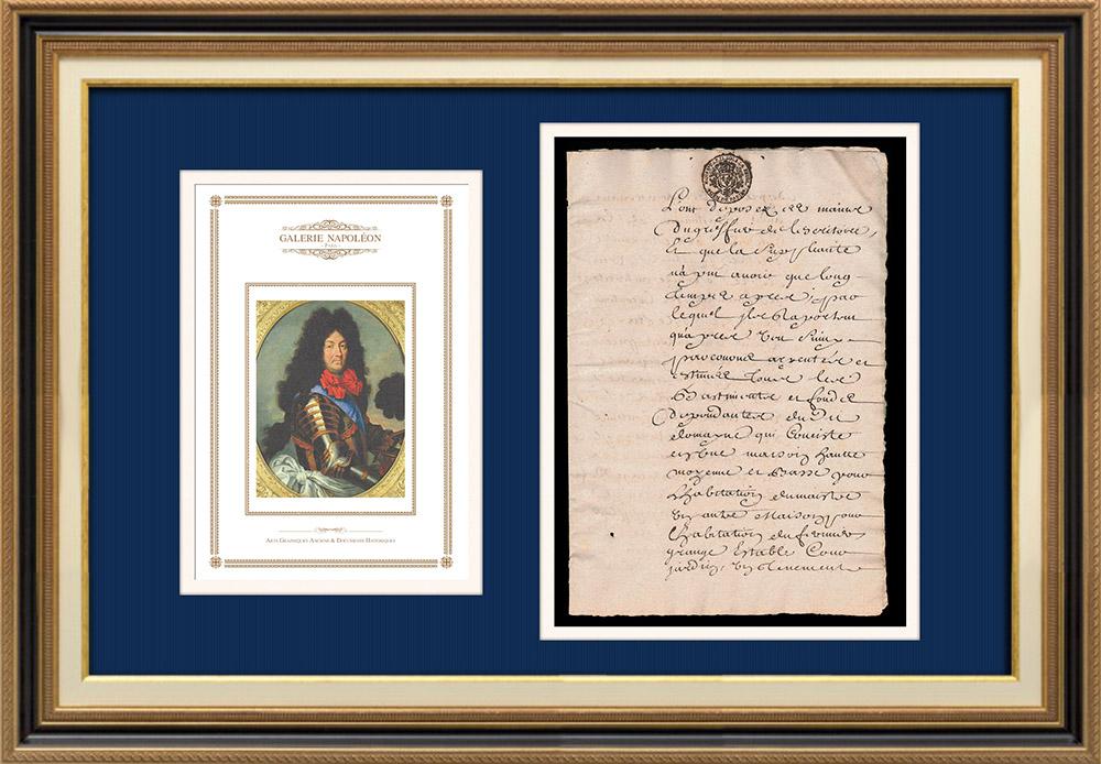 Manuscrito - Período Luis XIV - Généralité de Paris (1706) | Retrato de Luis XIV de Francia (1638-1715) | Documento manuscrito de 4 páginas sobre papel verjurado con filigrana escrito en 1706 (Luis XIV)