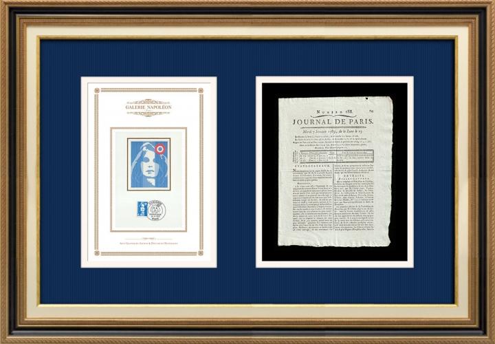 Revolução Francesa - Journal de Paris - Terça-feira, dia 7 de Julho de 1789 | Retrato de Marianne - Figura Alegórica da República Francesa