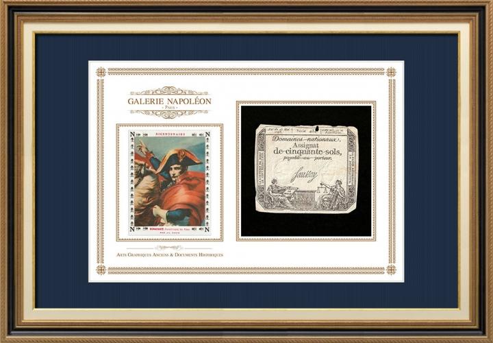 Assignaat van 50 sols - Franse Revolutie - 1793 | Napoleon steekt de Grote St.-Bernardpas (Jacques-Louis David)