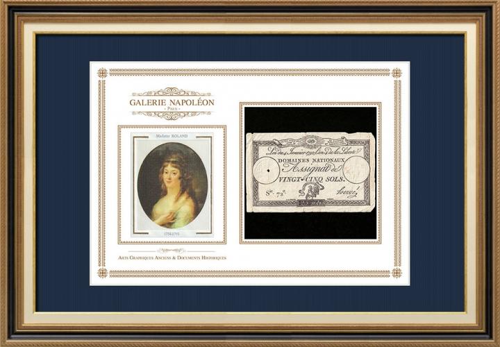 Assignaat van 25 sols - Franse Revolutie - 1792 | Portret van Manon Roland (1754-1793)