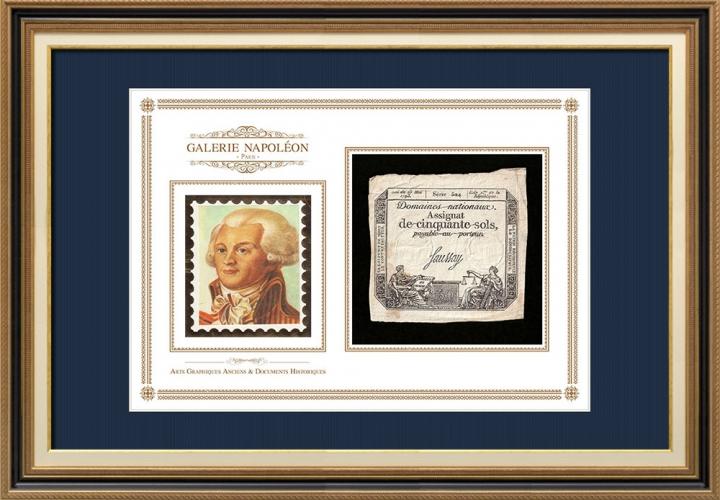 Assignaat van 50 sols - Franse Revolutie - 1793 | Portret van Maximilien de Robespierre (1758-1794)