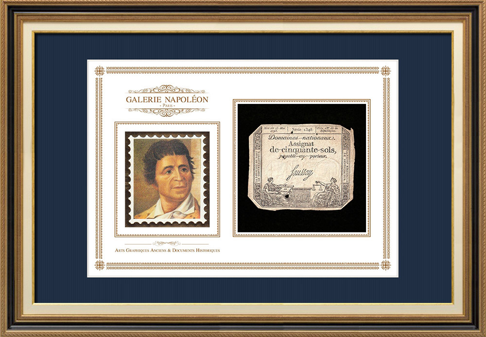 Assignat of 50 sols - French Revolution - 1793 | Portrait of Jean-Paul Marat (Joseph Boze) | Assignat of 50 sols from the year 1793 (An 2 de la République)