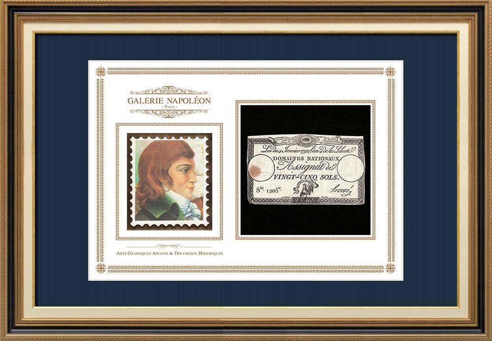 Assignat de 25 sols - Révolution Française - 1792 | Portrait de Louis Antoine de Saint-Just (1767-1794) | Assignat de 25 sols de l'année 1792 (An 4 de la Liberté)