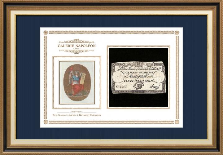 Assignaat van 25 sols - Franse Revolutie - 1792 | Motto van Frankrijk - Vrijheid