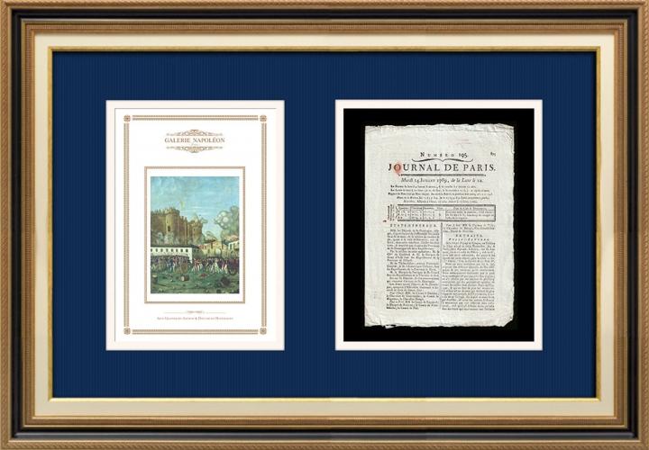 Revolução Francesa - Journal de Paris - Terça-feira, dia 14 de Julho de 1789 | Tomada da Bastilha - Detenção de M. de Launay (Jean Dubois)