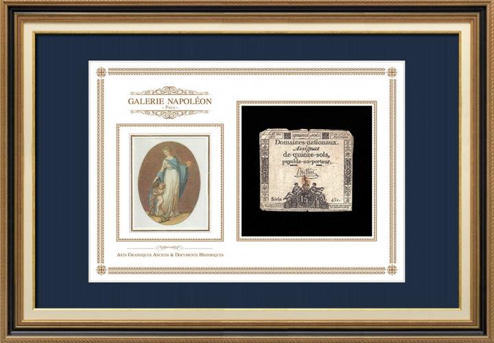 Assignaat van 15 sols - Franse Revolutie - 1793 | Motto van Frankrijk - Broederschap