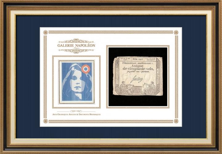 Assignaat van 50 sols - Franse Revolutie - 1793 | Portret van Marianne - Nationale Personificatie van Frankrijk