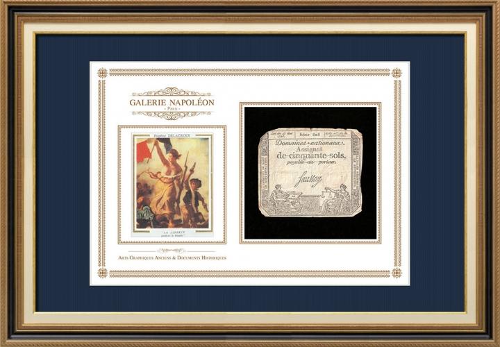 Assignaat van 50 sols - Franse Revolutie - 1793 | De Vrijheid leidt het volk (Eugène Delacroix)