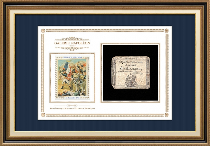 Assignaat van 10 sous - Franse Revolutie - 1792 | Portret van Bonaparte - Pont d'Arcole (Antoine-Jean Gros)
