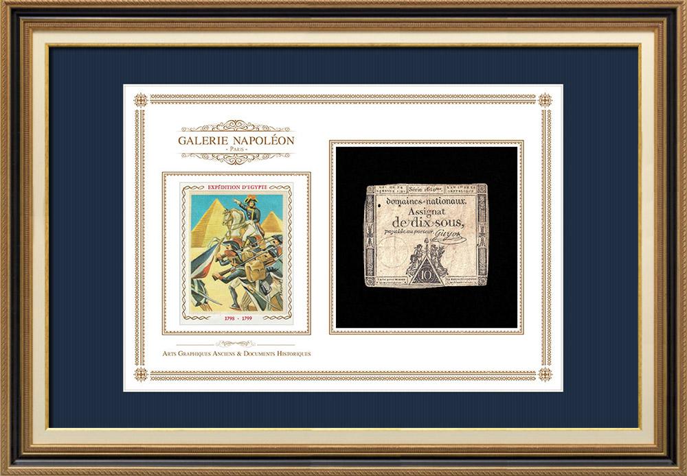Assignat of 10 sous - French Revolution - 1792 | Bonaparte - French campaign in Egypt | Assignat of 10 sous from the year 1792 (An 1 de la République)