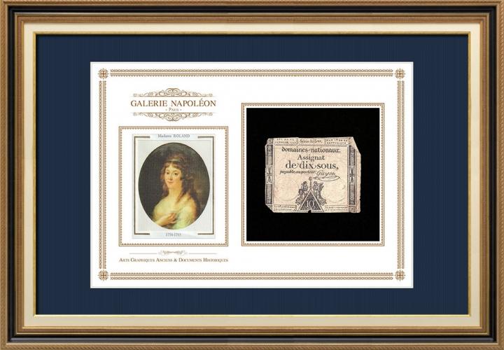 Assignaat van 10 sous - Franse Revolutie - 1792 | Portret van Manon Roland (1754-1793)