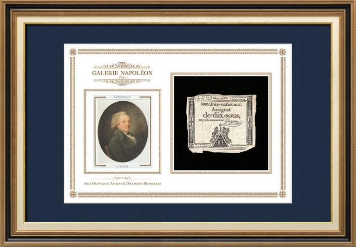 Assignaat van 10 sous - Franse Revolutie - 1792 | Portret van Nicolas de Condorcet (1743-1794)