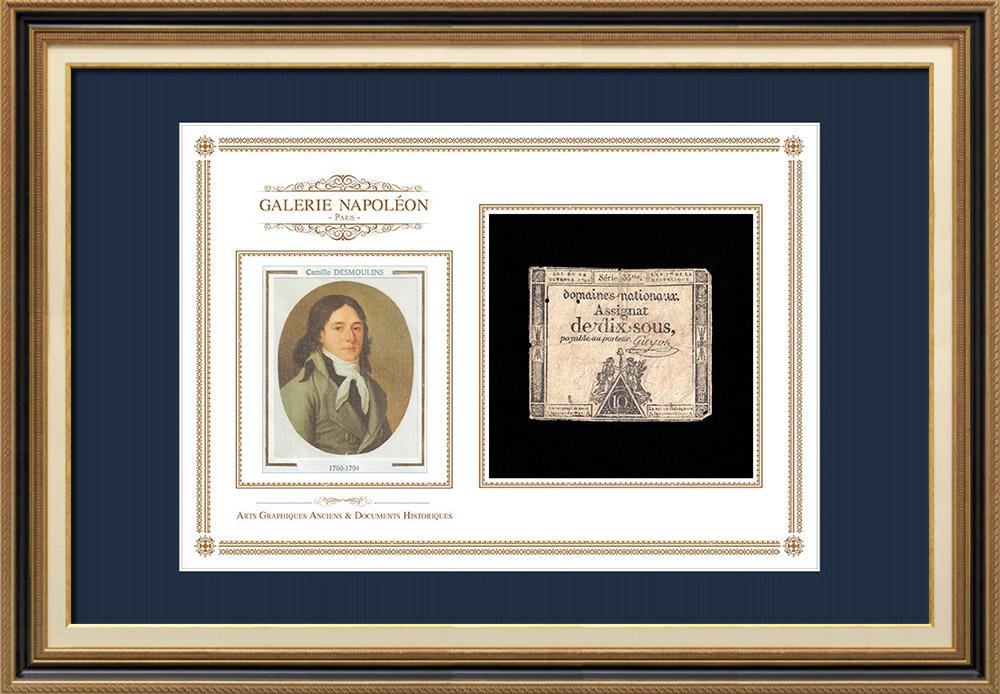 Assignat de 10 sous - Révolution Française - 1792 | Discours de Camille Desmoulins au Palais Royal (12 juillet 1789) | Assignat de 10 sous de l'année 1792 (An 1 de la République)