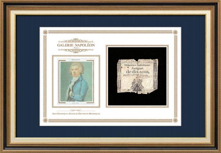 Assignaat van 10 sous - Franse Revolutie - 1792 | Portret van Antoine Barnave (1761-1793)