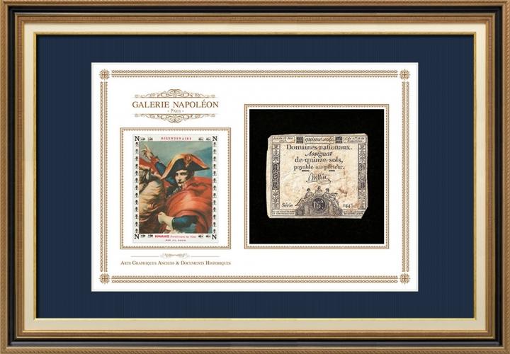 Assignaat van 15 sols - Franse Revolutie - 1793 | Napoleon steekt de Grote St.-Bernardpas (Jacques-Louis David)