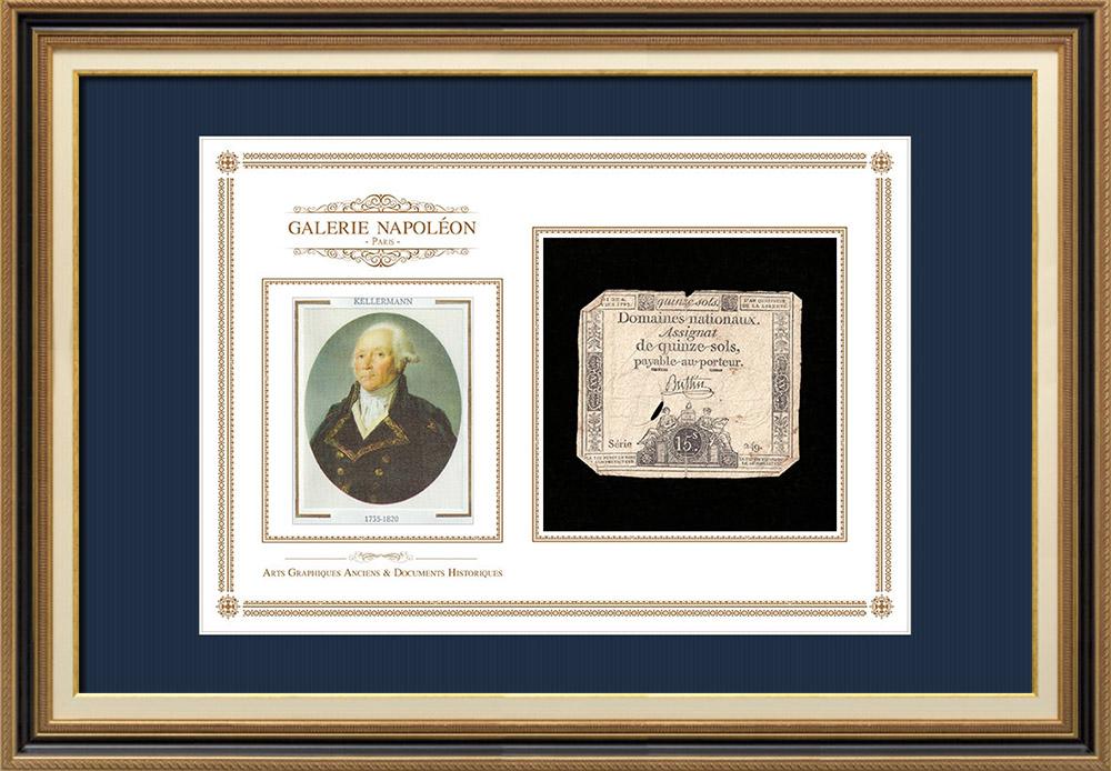 Assignat de 15 sols - Révolution Française - 1792   Portrait de François Christophe Kellermann (1735-1820)   Assignat de 15 sols de l'année 1792 (An 4 de la Liberté)