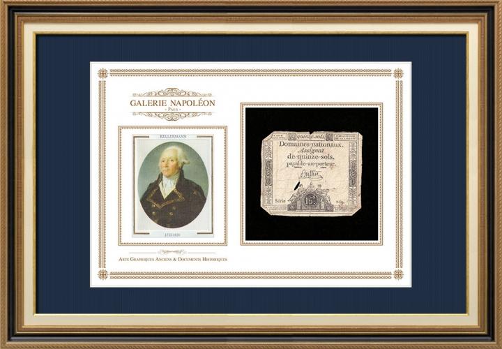 Assignaat van 15 sols - Franse Revolutie - 1792 | Portret van François Christophe Kellermann (1735-1820)