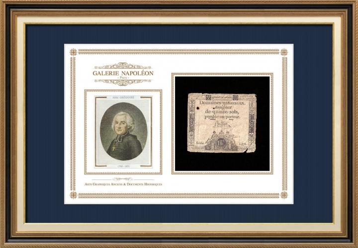 Assignaat van 15 sols - Franse Revolutie - 1792 | Portret van Abbé Henri Grégoire (1750-1831)