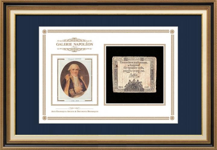 Assignaat van 15 sols - Franse Revolutie - 1792 | Portret van Gaspard Monge (1746-1818)