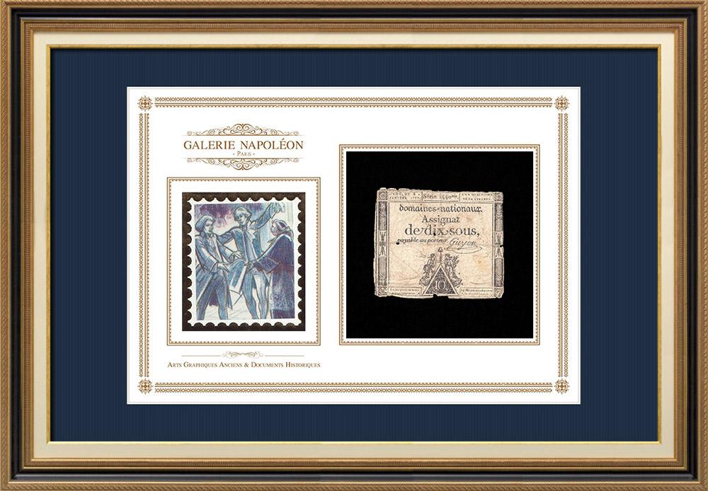 Assignat de 10 sous - Révolution Française - 1792 | Portrait de Louis Marie Marc Antoine de Noailles (1756-1804) | Assignat de 10 sous de l'année 1792 (An 4 de la Liberté)