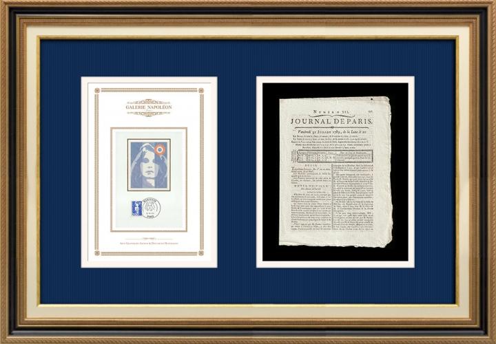 Revolução Francesa - Journal de Paris - Sexta-feira, dia 31 de Julho de 1789 | Retrato de Marianne - Figura Alegórica da República Francesa