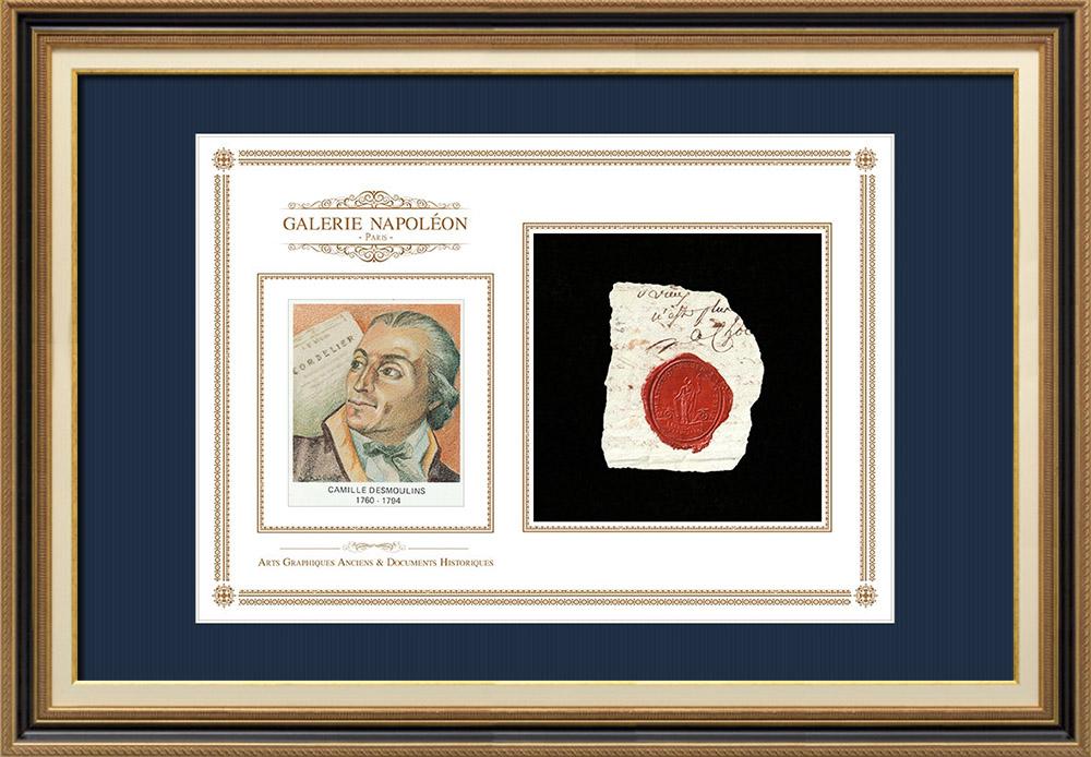 Sceau de cire - Révolution Française - 1794 - 67ème Régiment d'Infanterie (2ème Bataillon) | Portrait de Camille Desmoulins (1760-1794) | Fragment d'un document d'époque rédigé vers 1794 comportant le sceau de cire du 67ème Régiment d'Infanterie (2ème Bataillon)