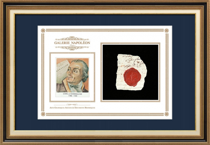 Sceau de cire - Révolution Française - 1794 - 67ème Régiment d'Infanterie (2ème Bataillon) | Portrait de Camille Desmoulins (1760-1794)