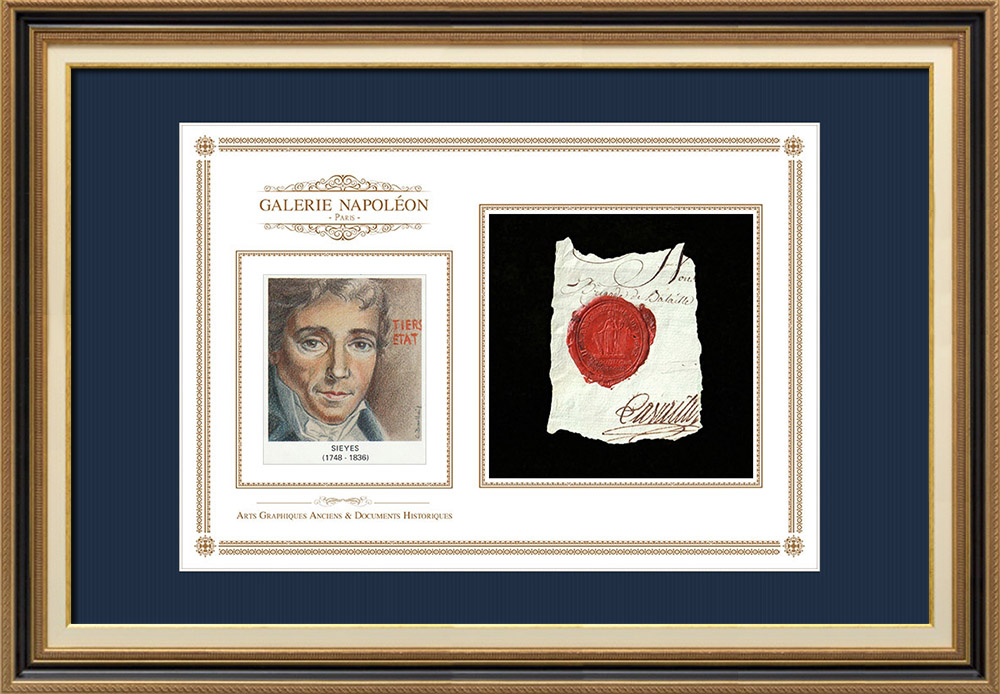 Sceau de cire - Révolution Française - 1795 - 11ème Demi-brigade d'Infanterie de ligne   Portrait de Emmanuel-Joseph Sieyès (1748-1836)   Fragment d'un document d'époque rédigé vers 1795 comportant le sceau de cire de la 11ème Demi-brigade d'Infanterie de ligne