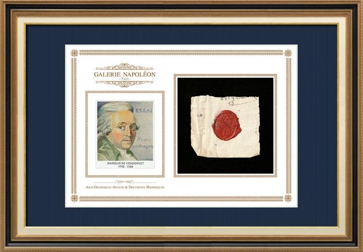 Sigillo di cera - Rivoluzione Francese - 1794 - 25º Semi-brigata | Ritratto di Nicolas de Condorcet (1743-1794)