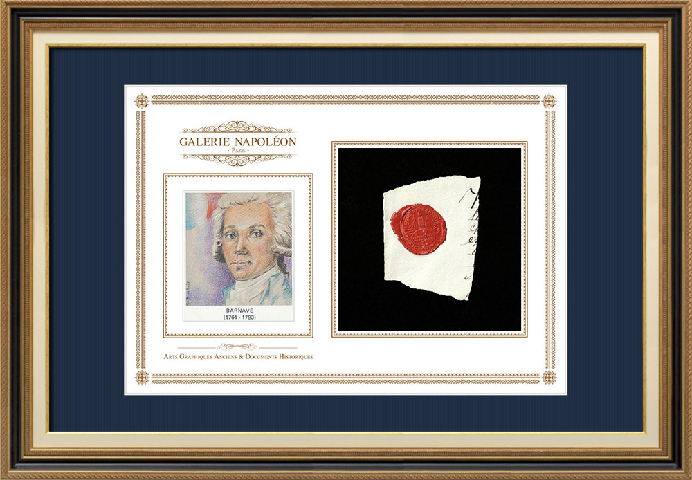 Wax seal - French Revolution - 1794 - 17th Infantry Demi-brigade | Portrait of Antoine Barnave (1761-1793) | Fragment of an original document written around 1794 bearing the wax seal of the 17th Infantry Demi-brigade («17ème Demi-brigade d'Infanterie»)