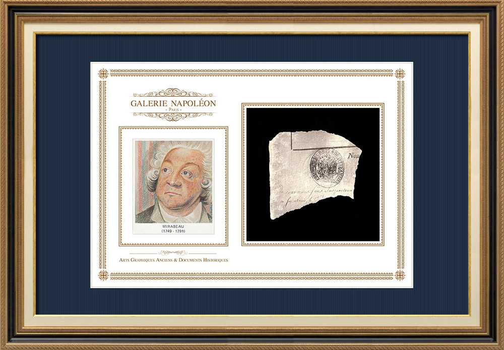 Ink stamp - French Revolution - 1793 - 40th Infantry Demi-brigade   Portrait of Honoré-Gabriel Riqueti de Mirabeau (1749-1791)   Fragment of an original document written around 1793 bearing the ink stamp of the 40th Infantry Demi-brigade («40ème Demi-brigade d'Infanterie»)