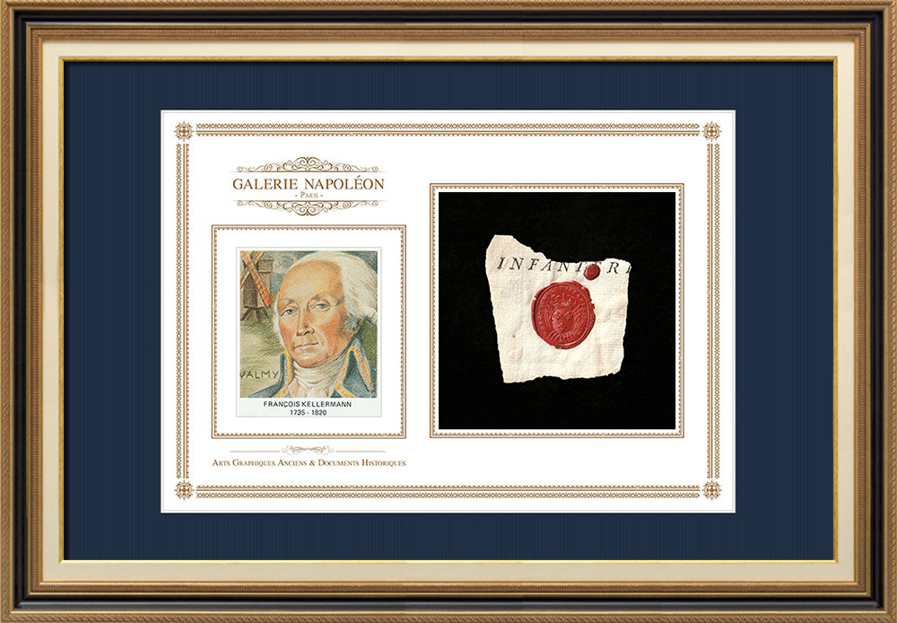 Sceau de cire - Louis XVI - 1791 - Régiment Royal d'Infanterie   Portrait de François Christophe Kellermann (1735-1820)   Fragment d'un document d'époque rédigé vers 1791 comportant le sceau de cire du Régiment Royal d'Infanterie