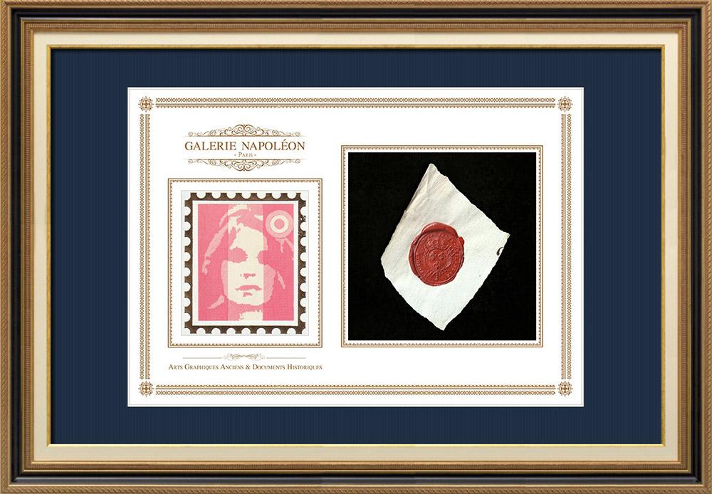 Sceau de cire - Louis XVI - 1791 - Régiment d'Infanterie de Flandre | Portrait de Marianne - Figure symbolique de la République française | Fragment d'un document d'époque rédigé vers 1791 comportant le sceau de cire du Régiment d'Infanterie de Flandre