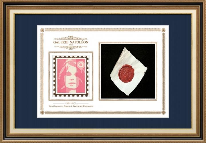 Sigillo di cera - Luigi XVI di Francia - 1791 - Reggimento Fanteria di Flandre | Ritratto di Marianne - Rappresentazione nazionale allegorica della Repubblica francese