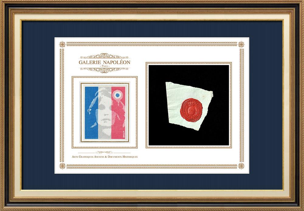 Sceau de cire - Louis XVI - 1791 - 42ème Régiment d'Infanterie Francoise   Portrait de Marianne - Figure symbolique de la République française   Fragment d'un document d'époque rédigé vers 1791 comportant le sceau de cire du 42ème Régiment d'Infanterie Francoise