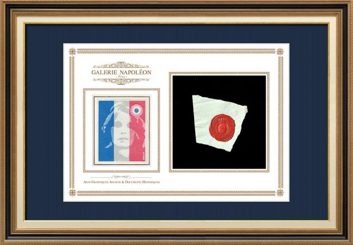 Sigillo di cera - Luigi XVI di Francia - 1791 - 42º Reggimento Fanteria | Ritratto di Marianne - Rappresentazione nazionale allegorica della Repubblica francese