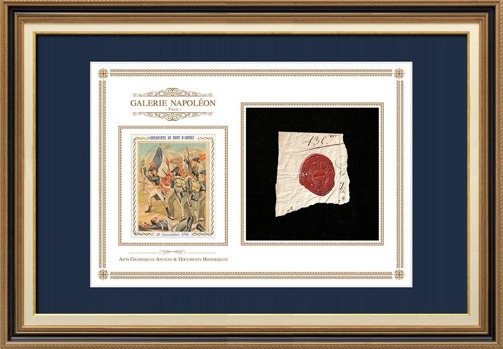 Sceau de cire - Louis XVI - 1790 - Régiment d'Infanterie de Béarn   Napoléon Bonaparte au Pont d'Arcole   Fragment d'un document d'époque rédigé vers 1790 comportant le sceau de cire du Régiment d'Infanterie de Béarn