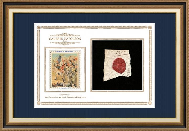 Sigillo di cera - Luigi XVI di Francia - 1790 - Reggimento Fanteria di Béarn | Napoleone Bonaparte a Pont d'Arcole