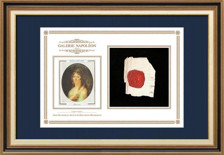 Sigillo di cera - Luigi XVI di Francia - 1790 - Reggimento Fanteria di Vivarais | Ritratto di Manon Roland (1754-1793)