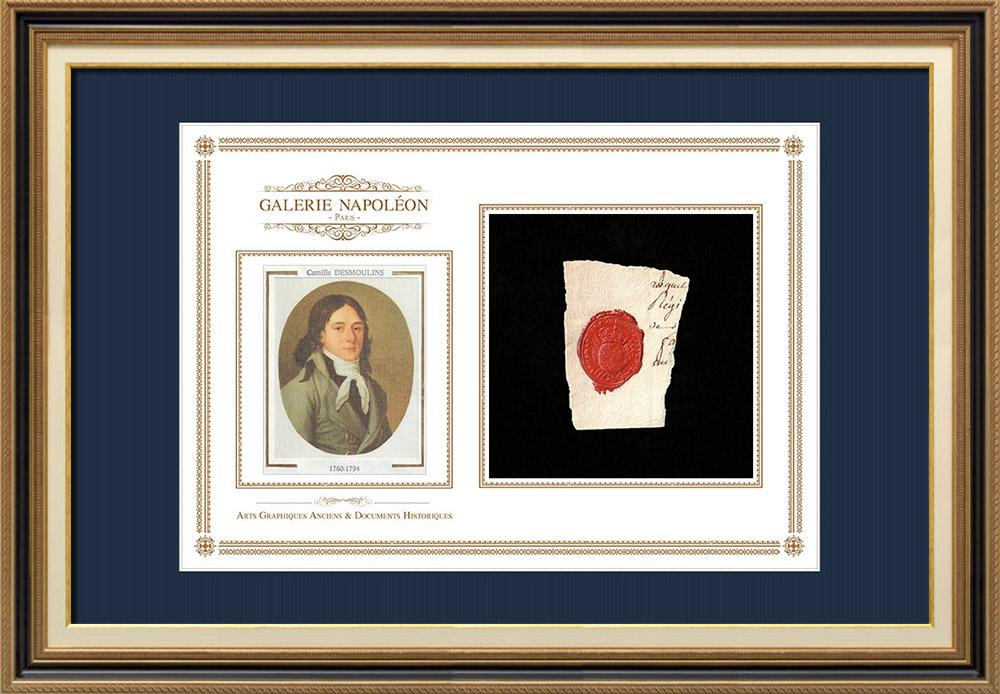 Sceau de cire - Louis XVI - 1790 - Régiment d'Infanterie de Bourgogne   Portrait de Camille Desmoulins (1760-1794)   Fragment d'un document d'époque rédigé vers 1790 comportant le sceau de cire du Régiment d'Infanterie de Bourgogne