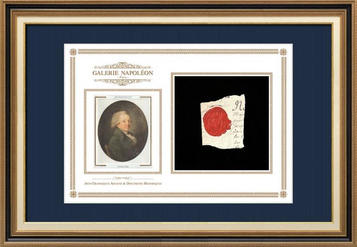 Sigillo di cera - Luigi XVI di Francia - 1790 - Reggimento Fanteria di Beauce | Ritratto di Nicolas de Condorcet (1743-1794)