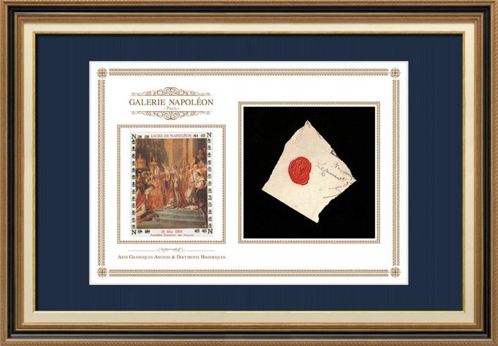 Sceau de cire - Napoléon Ier - 1805 - Gouvernement général des départements au-delà des Alpes (Italie Piémont Turin) | Le Sacre de Napoléon (Jacques-Louis David)
