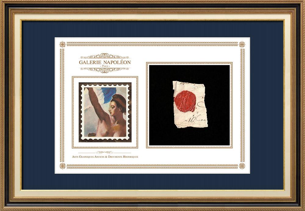 Pieczęcią lakową - Rewolucja Francuska - 1796 - 39 Półbrygada Piechoty | Wolność wiodąca lud na barykady (Eugène Delacroix) | Fragment dokumentu napisany około 1796 roku z pieczęcią lakową z 39 Półbrygada Piechoty («39ème Demi-brigade d'Infanterie de ligne»)