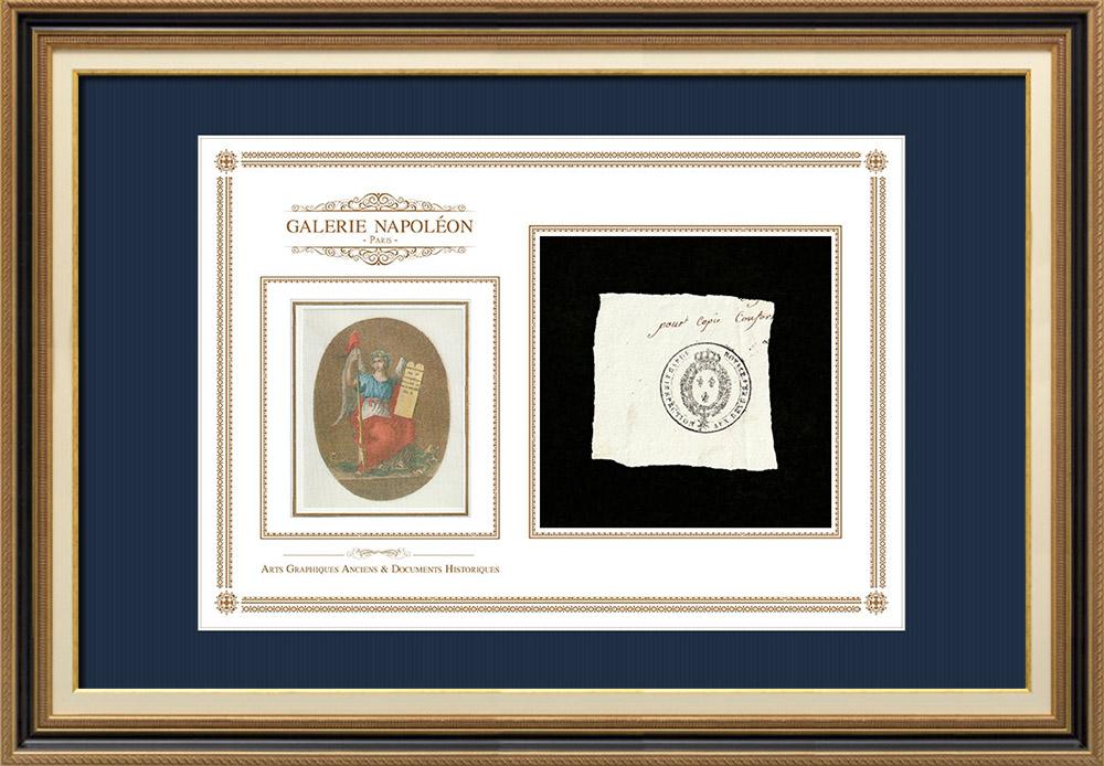 Cachet à encre -  - 1820 - Garde Royale Inspection aux Revues   Devise de la République Française - Liberté   Fragment d'un document d'époque rédigé vers 1820 comportant le cachet à encre du Garde Royale Inspection aux Revues