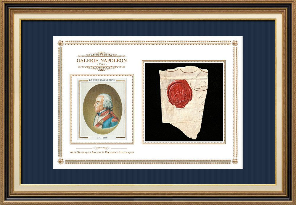Wax seal - French Revolution - 1793 - 92th Line Infantry Regiment | Portrait of La Tour d'Auvergne (1743-1800) | Fragment of an original document written around 1793 bearing the wax seal of the 92th Line Infantry Regiment («92ème Régiment d'Infanterie de ligne»)