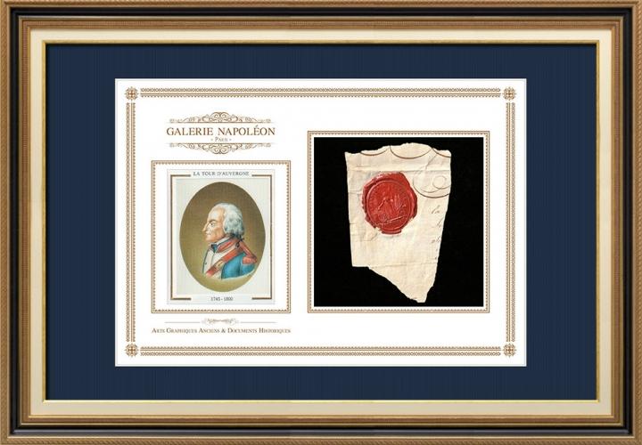Sigillo di cera - Rivoluzione Francese - 1793 - 92º Reggimento Fanteria di Linea | Ritratto di La Tour d'Auvergne (1743-1800)